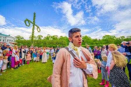 gunnebo: GOTHENBURG, SWEDEN - JUNE 19, 2015: Theatrical performance in Midsummer celebration in Gunnebo Castle