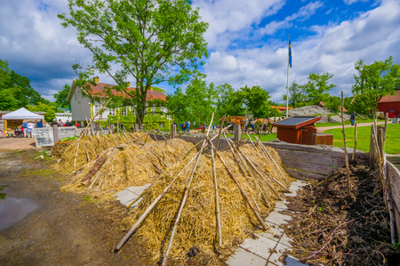 gothenburg: GOTHENBURG, SWEDEN - JUNE 19, 2015: Hay compost in Gunnebo House, beautiful and well preserved chateau built in the 18th century