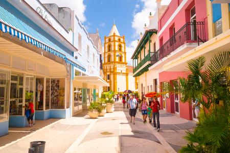 havana cuba: CAMAGUEY, CUBA - SEPTEMBER 4, 2015: Street view of UNESCO heritage city centre, walking boulevard with stores