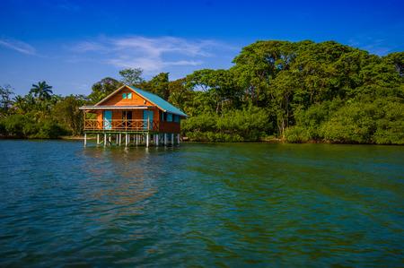 bocas del toro: BOCAS DEL TORO, PANAMA - APRIL 23, 2015 : Wooden Pier on Bocas del Toro province of Panama comprising an archipelago off the Caribbean coast.