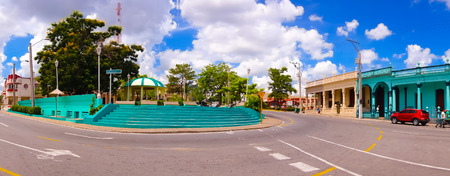 pinar: PINAR DEL RIO, CUBA - SEPTEMBER 10, 2015: Downtown of the city, main square, the only spot with internet wifi access.