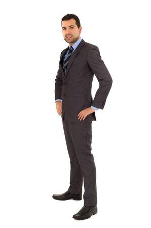 no shirt: hispanic man standing in a suit Stock Photo