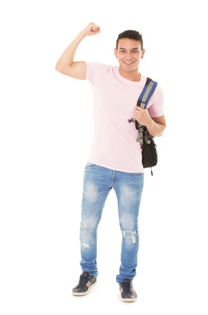 kid book: strong student wearing a backpack on a white background
