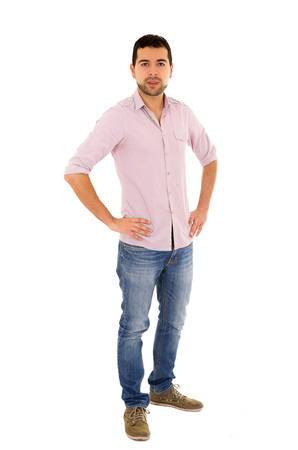 medium group: young casual man mixed race jeans
