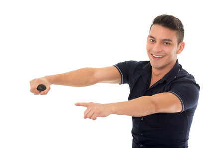 headrest: man posing as driving car pointing forward on studio
