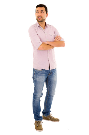 medium length: young casual man mixed race jeans