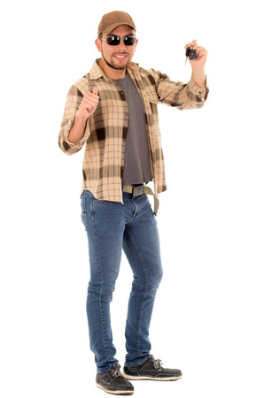 redneck: positive man with flannel shirt and cap