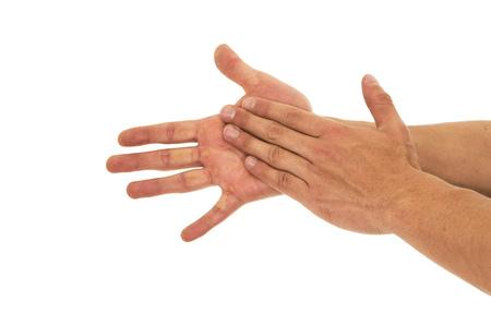 lavandose las manos: Hombres Lavarse las manos sobre un fondo blanco Foto de archivo