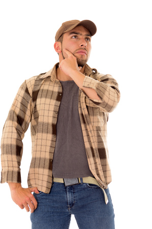 trucker man with a flannel shirt thinking