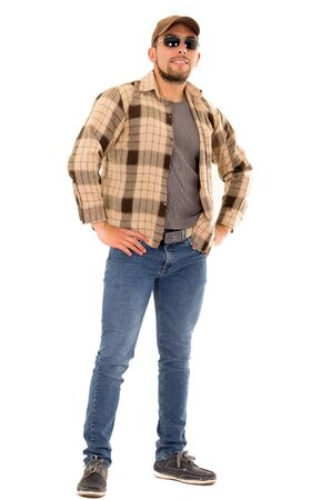 happy trucker man with flannel shirt and cap