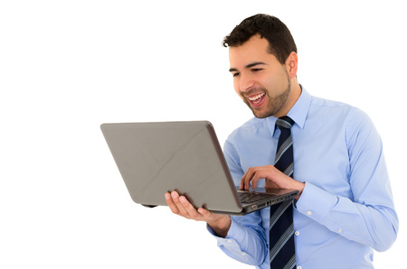 busy beard: Oclose up of Man in a formal shirt with laptop