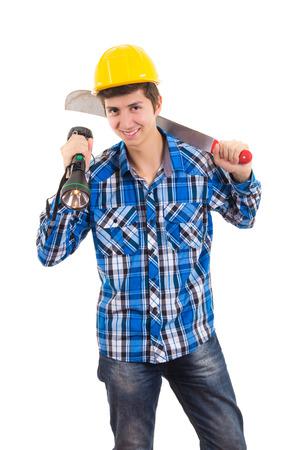 machete: man holding a machete and a helmet