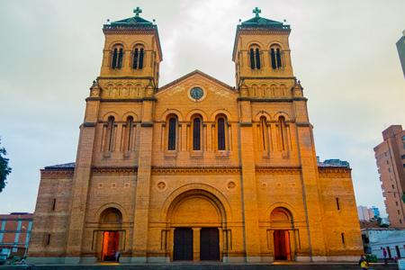 medellin: MEDELLIN, COLOMBIA - FEBRUARY 24, 2015: Beautiful Metropolitan Cathedral church facade in Medellin Editorial