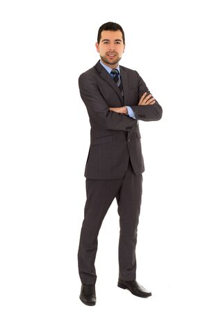 crossing arms: handsome young man wearing grey suit and crossing arms isolated on white