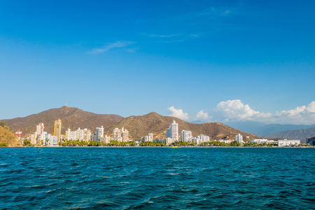 Beautiful cityscape view of Rodadero beach in Santa Marta, Colombia Banco de Imagens