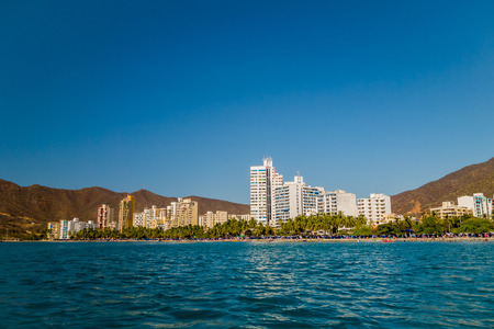 Beautiful cityscape view of Rodadero beach in Santa Marta, Colombia Stock Photo