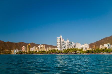marta: Beautiful cityscape view of Rodadero beach in Santa Marta, Colombia Stock Photo