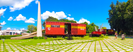 guerilla: SANTA CLARA, CUBA - SEPTEMBER 08, 2015: Memorial of train packed with government soldiers captured by Che Guevaras forces during the revolution. Editorial