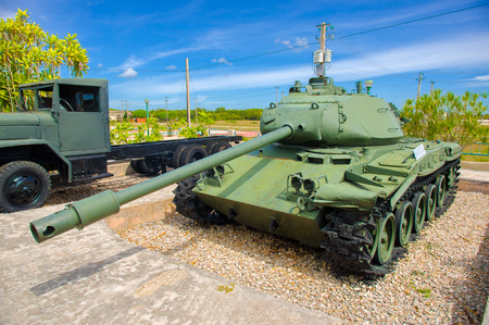 aggressor: PLAYA GIRON, CUBA - SEPTEMBER 9, 2015: Tank in the Museum shows the curious story of the world famous landing of the Bay of Pigs. Editorial