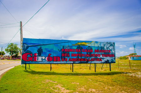 posted: BAY OF PIGS, CUBA - SEPTEMBER 9, 2015: Revolucion propaganda billboard posted by the goverment. Editorial