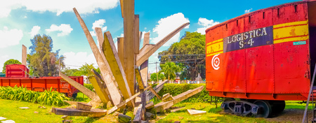 guerrilla: SANTA CLARA, CUBA - SEPTEMBER 08, 2015: Memorial of train packed with government soldiers captured by Che Guevaras forces during the revolution. Editorial