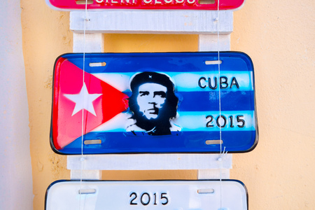 licence: CIENFUEGOS, CUBA - SEPTEMBER 12, 2015: Traditional licence plates for sale as souvenir