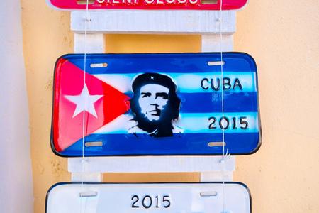 souvenir traditional: CIENFUEGOS, CUBA - SEPTEMBER 12, 2015: Traditional licence plates for sale as souvenir