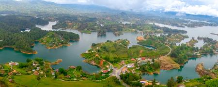 antioquia: Beautiful breathtaking panorama aerial view of Guatape in Antioquia, Colombia
