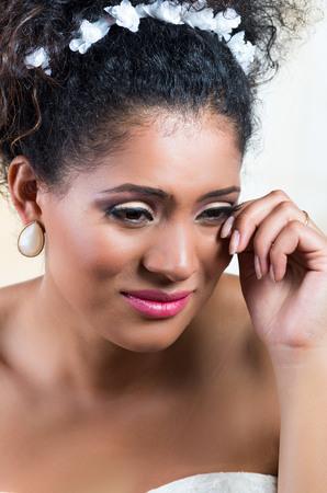 inconsolable: Closeup portrait of beautiful heartbroken emotional bride crying Stock Photo