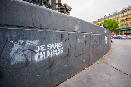 graffity: PARIS, FRANCE - JUNE 1, 2015 : Je suis Charlie graffity in Paris against the terrorist attack on Charlie hebdo journal. Editorial
