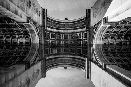 triumphe: Arc de Triomphe de lEtoile, Triumphal Arc of the Star, Paris, France. Black and white shot