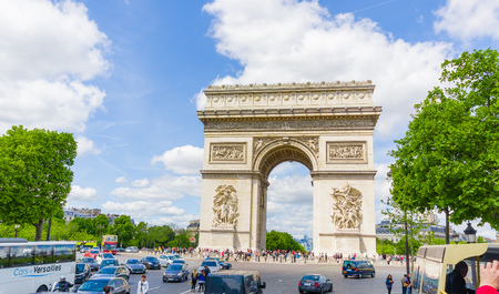 champs elysees: PARIS, FRANCE - JUNE 1, 2015: Beautiful summer view of Champs Elysees and Arc de Triomphe Editorial