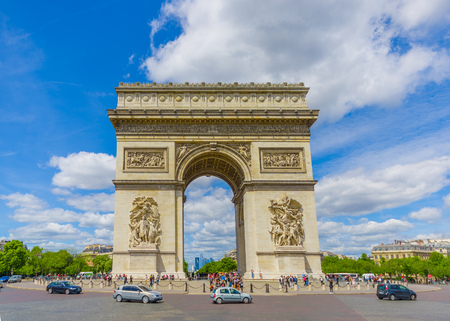 triumphe: PARIS, FRANCE - JUNE 1, 2015: Beautiful view of Champs Elysees and Arc de Triomphe under blue bright skies Editorial