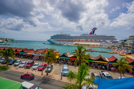 disctrict: ORANJESTAD, ARUBA - NOVEMBER 05, 2015: Downtown port and shopping disctrict used for tourism of cruise ships passengers Editorial