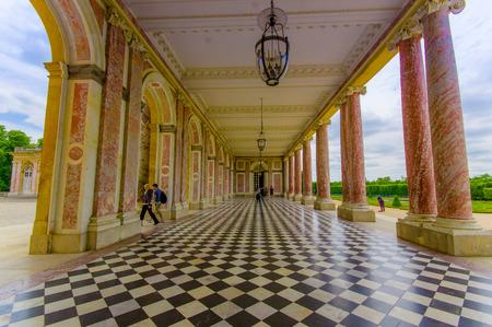 impressive: PARIS, FRANCE - JUNE 1, 2015: Impressive view of Grand Trianon in Versailles Palace near Paris, France