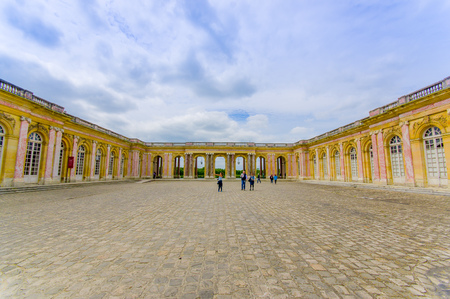 patrimony: PARIS, FRANCE - JUNE 1, 2015: Beautiful exterior view of Grand Trianon in Versailles Palace near Paris, France Editorial
