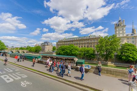 ile de la cite: PARIS, FRANCE - JUNE 1, 2015: Tourists visiting Ile de la Cite island in the center of Paris, where the medieval city was refounded.