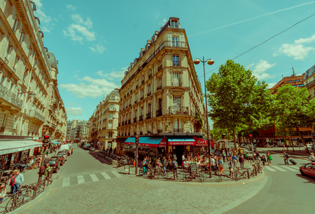 lively: PARIS, FRANCE - JUNE 1, 2015: Busy and popular Latin quartier area known for its student life and lively atmosphere