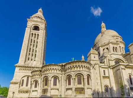 sacre: Impressive Basilica of the Sacred Heart of Paris, Sacre Coeur located in Montmartre hill, Paris, France Stock Photo