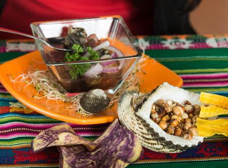 ecuadorian: Close up shot of delicious typical ecuadorian seafood plate, cebiche Stock Photo