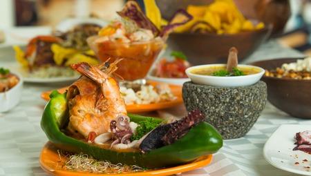 Exotic and delicious seafood dish with shrimp, calamari and octopus. Close up shot, selective focus