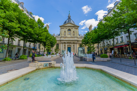 Paris, France - June 1, 2015: Sorbonne, edifice in the parisian Latin Quarter, which was the historical house of the former University of Paris.
