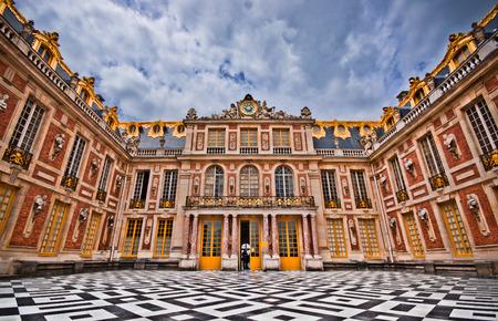 Paris, France - June 1, 2015: Magnificent Marble Court, Cour de Marbre in the Palace of Versailles