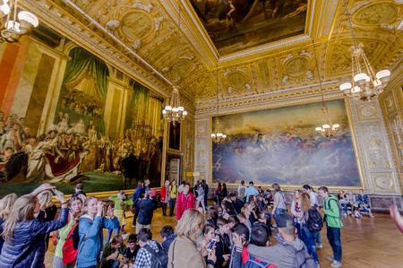 coronation: Paris, France - June 1, 2015: Salle du Sacre, Coronation Room in Versailles Palace Editorial