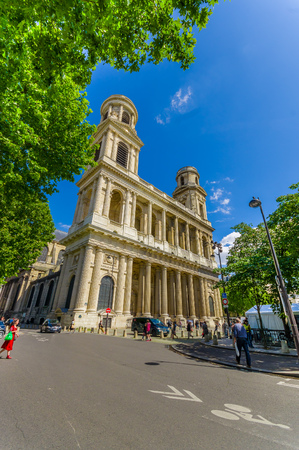 Paris, France - June 1, 2015: Facade of the Church of Saint-Sulpice, Roman Catholic church in the Luxembourg quarter of the 6th arrondissement