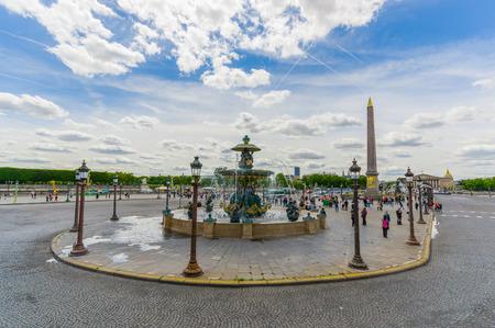 concorde: Paris, France - June 1, 2015: Beautiful touristic view of Place de la Concorde, the largest square in Paris Editorial
