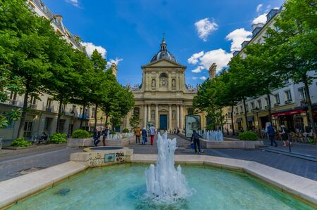 edifice: Paris, France - June 1, 2015: Sorbonne, edifice in the parisian Latin Quarter, which was the historical house of the former University of Paris.