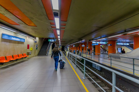 subway platform: BRUSSELS, BELGIUM - 11 AUGUST, 2015: Inside Zuidstation subway platform.