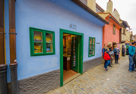 modest: Prague, Czech Republic - 13 August, 2015: Old town of city, great colorful modest ancient architecture and tight streets.