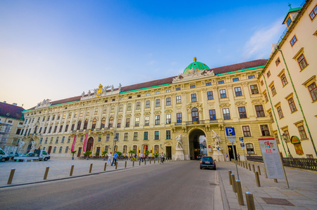 seating area: Vienna, Austria - 11 August, 2015: Inside economy class seating area on the train,  classy comfortable interior Hofburg Palace as seen from front, revealing amazing majestic architecture typical european style, massive pretty concrete construction. Editorial